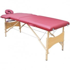 Table/Lit de Massage pliante 2 zones en Bois - Rouge