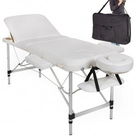 Table/Lit de Massage pliante 3 zones en Alu - Blanc Crème